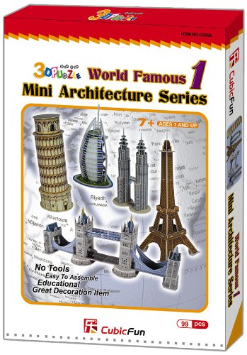 CubicFun 3D Puzzle C-Series Mini Architecture Series 1 cubicfun 3d puzzle paper building model assemble gift diy baby toy the hall of supreme harmony world s great architecture mc127h