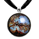 Harvest Moon Autumn Buddha and Cat Meditation Art Necklace