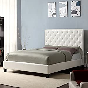 Home Creek Sascha Faux-Leather Tufted Slat Platform Bed