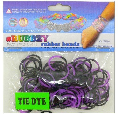 Undee Bandz Rubbzy 100 Purple & Black Tie-Dye Rubber Bands with Clips [Y] - 1
