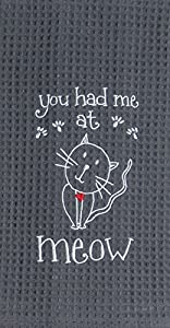 Kay Dee Designs F0782 Meow Embroidered Waffle Towel