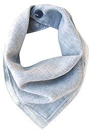 Kishu Baby Organic Blue Gray Reversible Bandana Bib, Gray, One Size