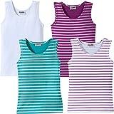 Kinderbutt Unterhemd 4er-Pack gestrickter Ringel viola Größe 146 / 152