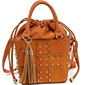 Dasein Petite Studded Drawstring Satchel With Tassels