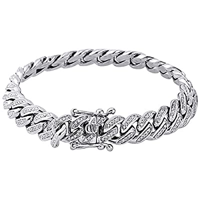 "10K White Gold Round Pave Set Diamond Men's Curb Cuban Link 8.6"" Bracelet 2 Cttw"
