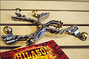 Hilason Ss Youth Twisted Wire Band Roping Spurs Brass Buttons & Rowel