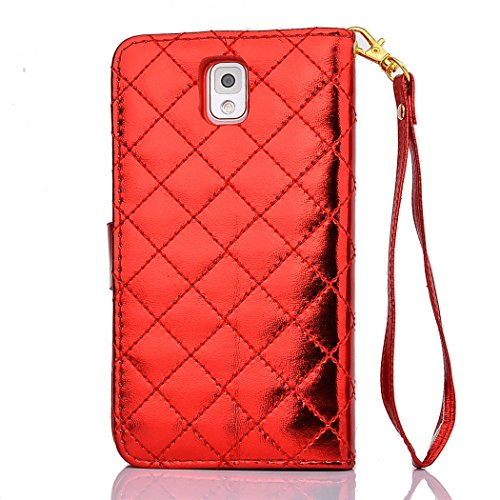 Note 3 Case - Samsung Galaxy Note 3 Case - Welity Luxry Bling Crystal Buckle Shiny Durable PU Leather Flip Folio Book Style Wristlet Wallet Protector Skin Kickstand Feature Pouch Phone Case Magnetic Closure Credit ID Card Slot and One Gift Compatible with Case Cover for Samsung Galaxy Note 3 N9000 Verizon ATT Sprint T-Mobile Red