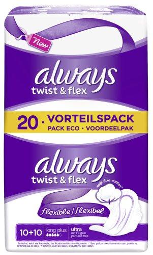 always-ultra-binde-twist-flex-long-plus-vorteilspack-5er-pack-5-x-20-stuck