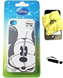 Disney ® Mickey Mouse HARD BACK PIECE Faceplate Protector Case Cover (Black and White Mickey Original Sketch Draw) for Apple iPhone 4S / 4G / 4 (Fits any carrier AT&T, VERIZON AND SPRINT) + Free WirelessGeeks247 Metallic Detachable Touch Screen STYLUS PEN with Anti Dust Plug