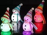 【クリスマス景品】スノーマンLEDイルミネーション 4個入り/ お楽しみグッズ(紙風船)付きセット [おもちゃ&ホビー]