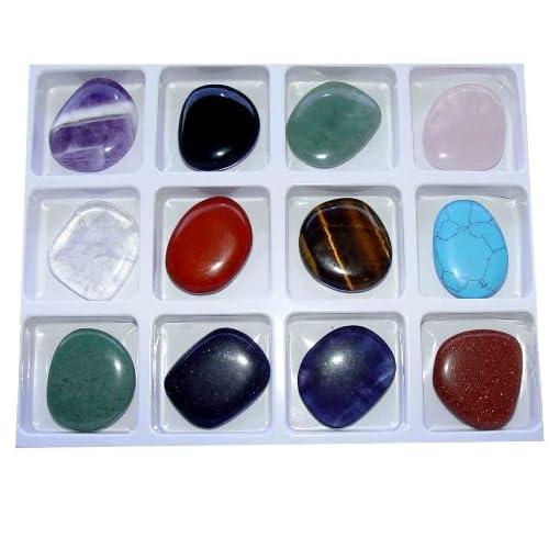 Heilstein-Starterset-12-Stck-flache-Edelsteine-einzeln-benannt-je-ca-30-40-x-10-mm-zB-Amethyst-Bergkristall-Tigerauge-ua