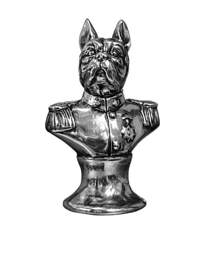 Electroplated Bull Dog Bust, Antique Silver