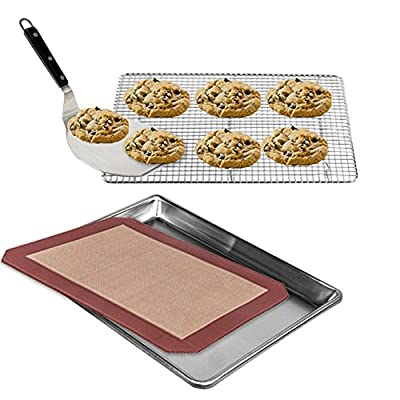Kitchen Gems Cookie Baking Tools Accessory Gift Set Kit - Includes Silicone Baking Mat, Aluminum Cookie Sheet with Cooling Rack & Cookie Shovel - All Essential Kitchen Utensils for Baking Cookies