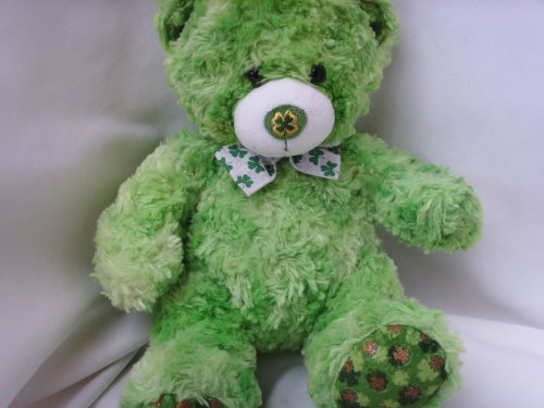 "Irish Green St. Patrick's Day Teddy Bear Plush Toy 15"" ; with Shamrock Nose"