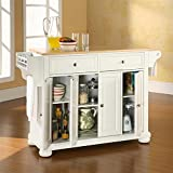 Crosley Furniture Alexandria Natural Wood Top Kitchen Island, White