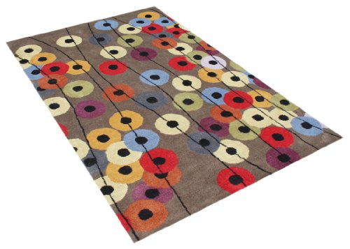 ZnZ Rugs Gallery, 20083_5x8, Hand Made Elephant Gey New Zealand Blend Wool Rug, 1, Rust, Red, Black, 5x8'