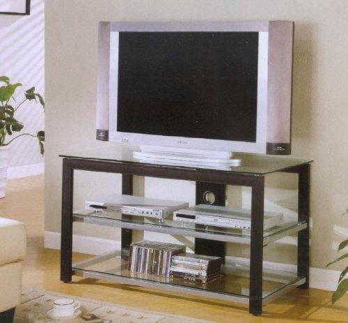 Cheap Black Rectangular TV Stand With Glass Shelves (B0017DS9VG)