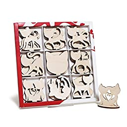 Handmade Wood Set 18 PCS Figurine Cat Animal DIY Craft Art Home Decor Toy