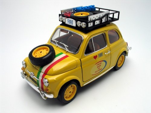 BBurago 18-11024 - Diamond Collezione 1:18 Fiat 500 from Bari to Pechino 2005 gelb