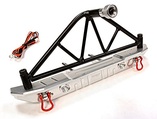 Integy RC Hobby C25873SILVER Realistic Metal Rear Bumper with Spare Tire Rack & LED for SCX-10 43mm Mount (Proline Rc Rack compare prices)
