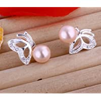 Pink Pearl Butterfly Stud Earrings
