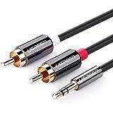 Ugreen Câble Audio Stéréo Jack 3.5mm Mâle vers 2 RCA Fiches Mâle avec Petit Connecteur en Métal, 6ft/2m