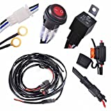KAWELL 1 lead LED Wiring Harness Include Switch Kit Suppot 300W LED work light LED Light Bar Wiring Harness and On/Off Waterproof Switch