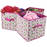 Paylak SCR488PK Closet Organizer Storage Fabric Box Set of 3 Floral with Handle