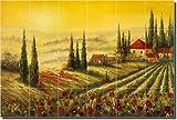 "A New Day by C. H. Ching - Tuscan Landscape Ceramic Tile Mural 24"" x 36"" Kitchen Shower Backsplash"