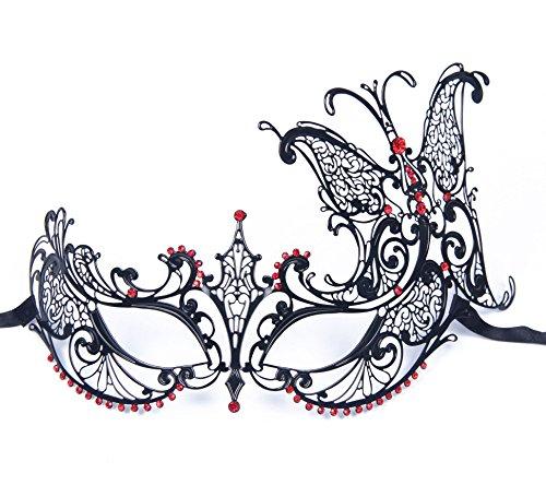 KAYSO Stunning Butterfly Venetian Luxury Metal Filigree Princess Masquerade Mask, Black/Red
