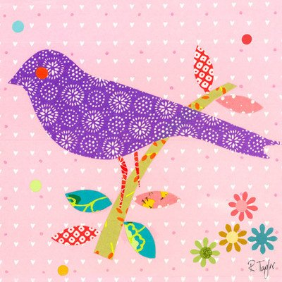 Oopsy Daisy Mod Bird On Light Pink Stretched Canvas Wall Art by Rachel Taylor, 10 by 10-Inch