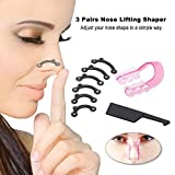 Nose Up Lifting Shaper Massage Tool No Pain Nose Shaping Clipper Nose Bridge Straightening Clip Corrector (6Pcs/3 Pairs 3 Size ) (Color: Black)
