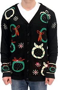 Ugly Adult Christmas Sweater Wreath Black Cardigan Vest with Flashing Lights