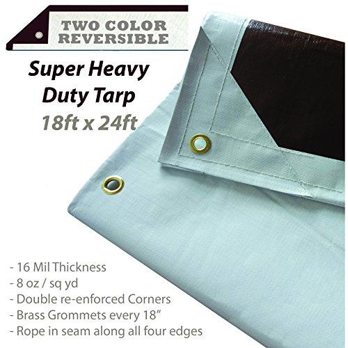 Buy Bargain 18 Ft. X 24 Ft. Super Heavy Duty Tarp - 16mil Thick - White / Brown Reversible Tarp