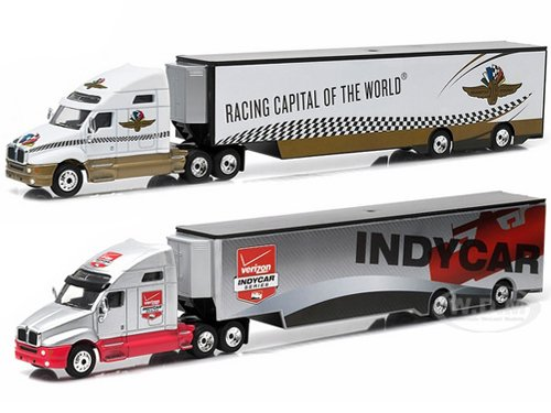 2015 Kenworth T2000 Transporter Verizon Indy Car Series And 2015 Kenworth T2000 Transporter Indianapolis Motor Speedway 2 Truck Set 1/64 by Greenlight 29825-29826 (Indycar Model compare prices)