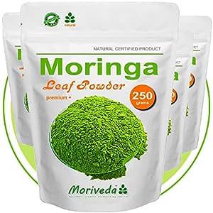 Moringa 1kg Blattpulver Premium Plus, garantiert beste Qualität (4x250g Pulver)