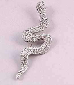 "Silver Tone Genuine Austrian Rhinestone Brooch  Snake  Size: 3"" x 0.85"" Lead & Nickle Free Crystal & AB Mixed"