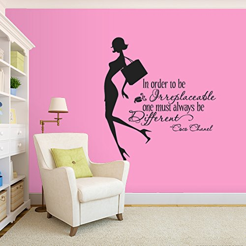 Wall Decal Vinyl Sticker Decals Art Decor Design Coco Chanel Quote Fashion Girl Style Woman Inspire Bedroom Modern Kids Children (R543) front-762739