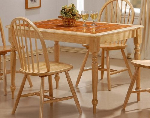 Dining Table with Terracotta Tile Top Natural Finish