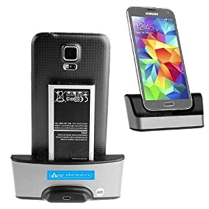 Desktop USB Sync Battery Dock Dual Charger Stand for Samsung Galaxy S5 SV G900F i9600 with spare battery charger (galaxy S5 9600)