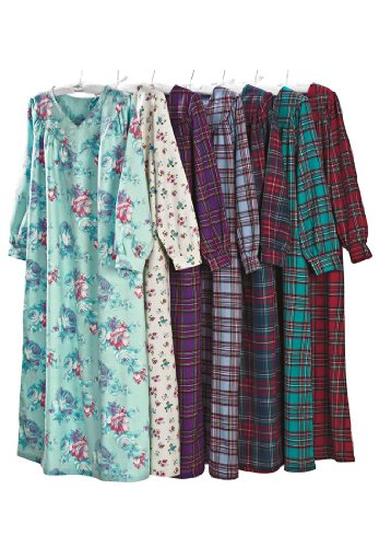 Only Necessities Women's Plus Size Petite Flannel Plaid Gown