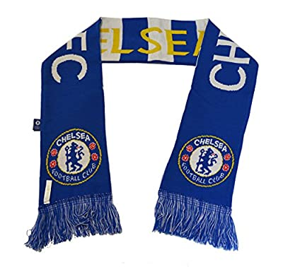 Chelsea Fc Woven Bar Scarf Reversible Blue - White -Yellow New Season 2015-2016