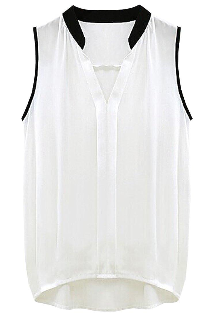 (オッサエプ)OASAP OL パネル Vネック ノースリーブシフォンブラウス : 服&ファッション小物通販 | Amazon.co.jp
