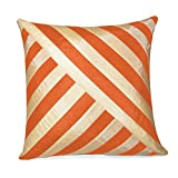 OBLIQUE DESIGN CUSHION COVER BEIGE & ORANGE 1 PC (40 X 40 CMS)