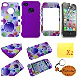 Purple (TRAIT)5in1 Bubble Plastic + Silicon Case Front And Back 5in1 Protector Skin For for iphone 4 4G 4S Cases and covers+ 2*Screen Protector+2*cleaning cloth