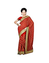 Indian Elegant Maroon Colored Embroidered Faux Georgette Saree By Triveni