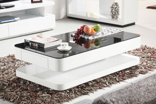 Courbe 1m High Gloss Coffee Table With Black Glass Drawers Cheap Coffee Tables