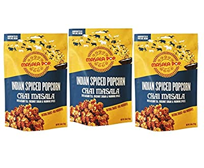 Masala Pop Indian Popcorn and Gifts Spiced Gourmet Popcorn, Chai Masala Flavor, 3 Count