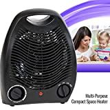 Portable Black Space Heater Fan Compact Home Office Quiet, Adjustable Thermostat