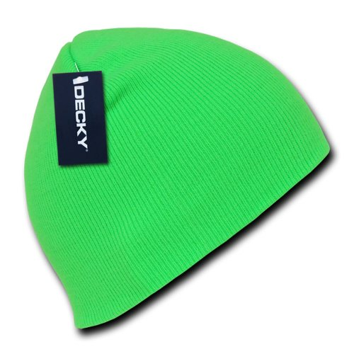 Hot Neon Color Short Acrylic Beanies (Neon Green)